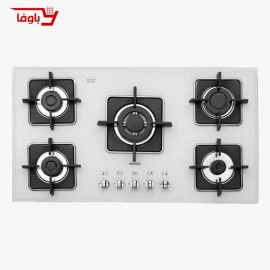 اجاق گاز صفحه ای   استیل البرز   مدل G5960W   شیشه   5 شعله   قطعات ایرانی