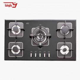 اجاق گاز صفحه ای | استیل البرز | مدل G5910 | شیشه | 5 شعله | قطعات ایتالیایی