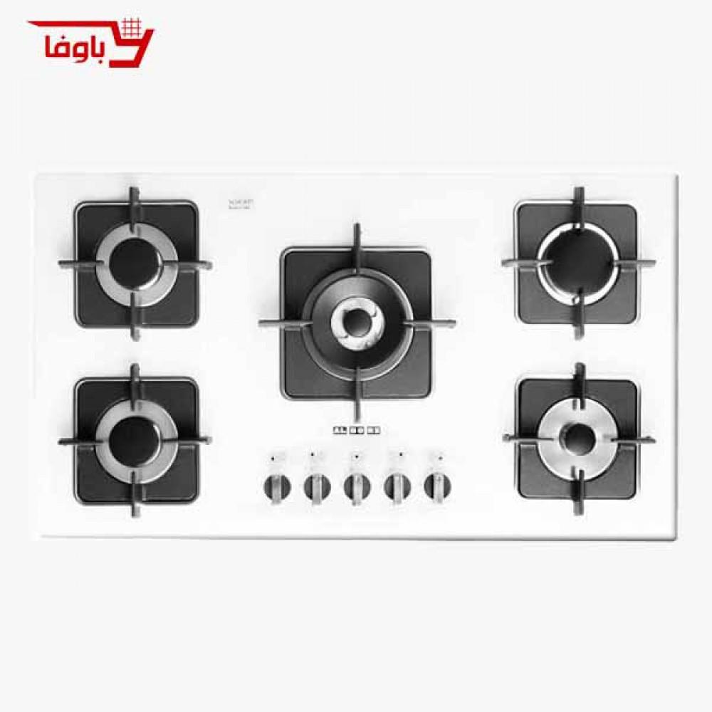 اجاق گاز صفحه ای | استیل البرز | مدل G5910W | شیشه | 5 شعله | قطعات ایتالیایی
